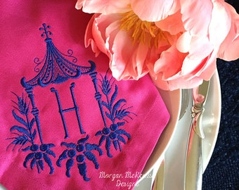 Fuchsia Buffet Napkins w/ Navy Pagoda Single Initial Monogram set of 6