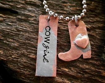 Cowgirl, Western Jewelry, Cowboy boot, Cowgirl necklace, Handstamped jewelry, cowgirl boots, gifts for her, western necklace, copper jewelry