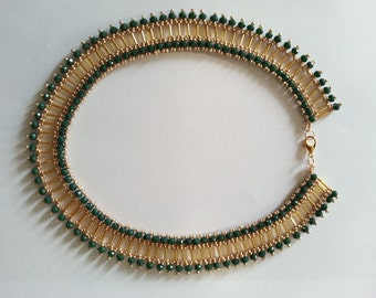 Handmade Beaded Necklace Pattern golden yellow and green
