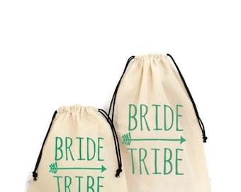 Bride bridesmaid natural cotton gift bag cosmetic bag