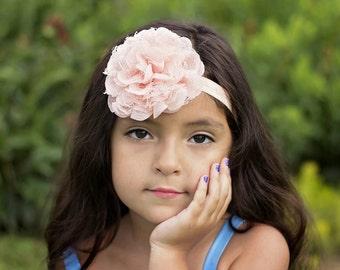 Baby headband - peach baby headband -  flower headband - lace headband - infant headband - pink headband - headband - girls headband - red