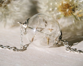 Dandelion Seed Necklace Dandelion Necklace Wish Necklace Terrarium Necklace Glass orb jewelry Long necklace Anniversary gift Christmas