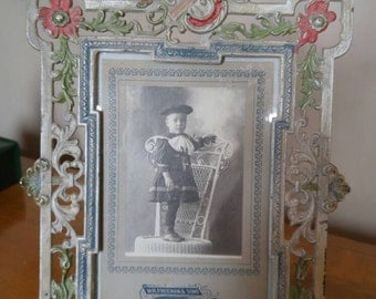 Antique Victorian Cast Iron Hand Painted Picture Frame With Original Photograph