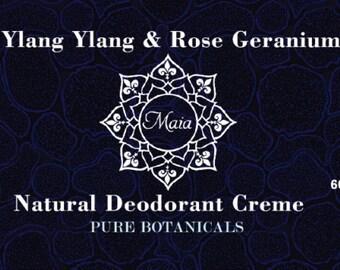 Ylang Ylang and Rose Geranium Natural Deodorant Creme