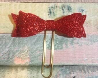 Red Glitter Foam Bow Paperclip