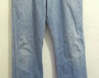 Men's Faded Blue Vintage 70's STONER Style Bootcut Jeans.31x34