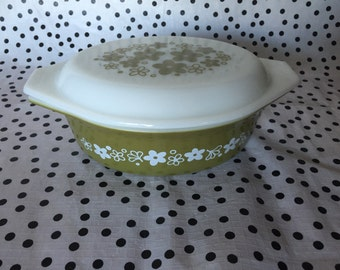 Pyrex USA Spring Blossom oval casserole dish with white opal lid.price is for one