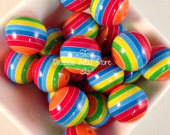 20mm Resin STRIPE chunky bubblegum beads - primary colors