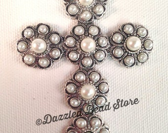 Gorgeous Silver alloy PEARL cluster religious CROSS PENDANT 84mm