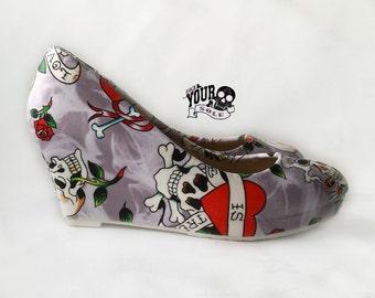 Skull tattoo Shoes fabric covered wedge. goth punk alternative custom made to order