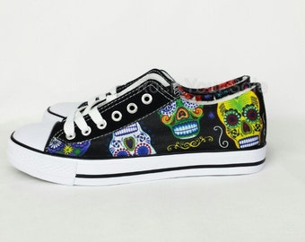 Sugar Skull Shoes, Custom Converse style pumps, fabric covered plimsolls, trainers. goth punk alternative custom rockabilly shoes