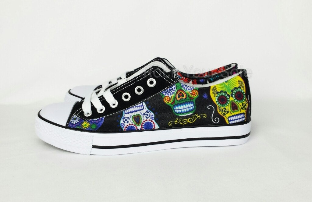 Sugar Skull Shoes Custom Converse style pumps fabric covered