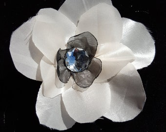 Ivory and Black Flower Hair Clip