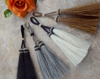 Show stoppers, tassel, Double Horsehair Tassel, 5 inches long, stunning horsehair tassel necklaces, horsehair jewelry, horsehair bridle