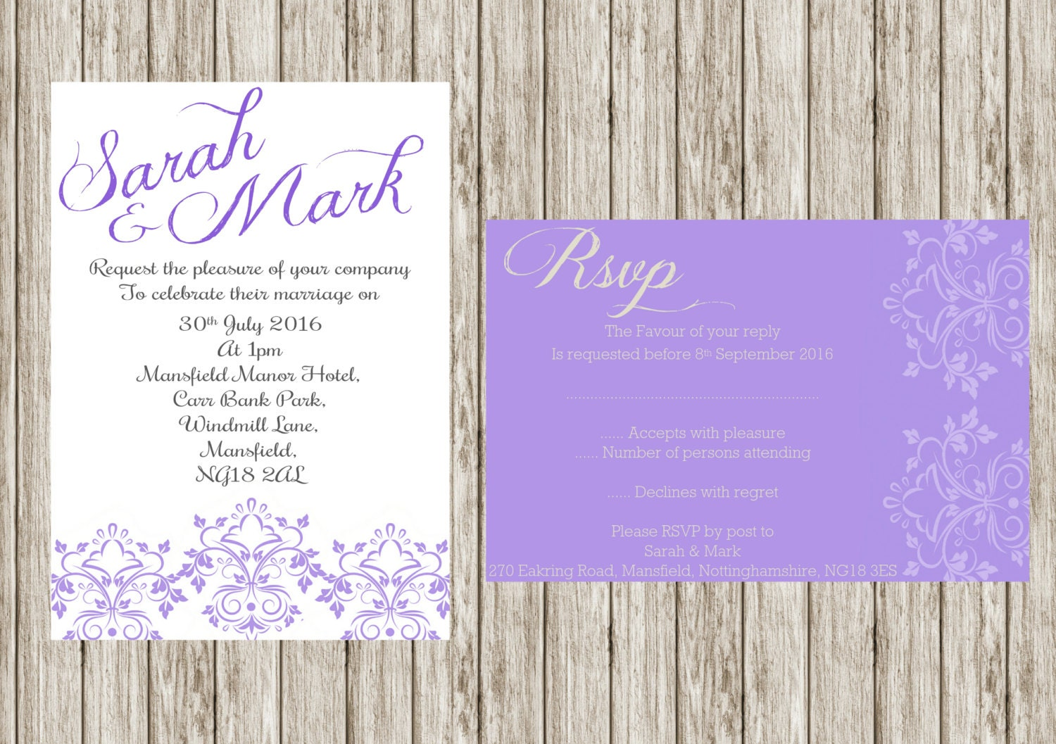 purple damasks invitation printable wedding invitation