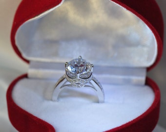 Round Cut diamond engagement ring, solitaire engagement ring,wedding ring, platinum ring, fine rings, platinium ring, handmade ring