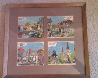 Vintage New Orleans painting by J. Reeks in wooden frame