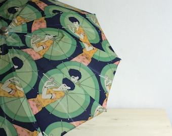Vintage Umbrella - Rain Umbrella - Frenach Vintage Umbrella - Mid-Century Umbrella - Vintage Parasol