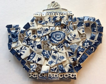 Mosaic Kit: the blue teapot with flowers