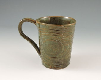 Ceramic Mug, Handmade, Brown Wood Grain Texture,  Ceramic Stoneware Mug Coffee Cup