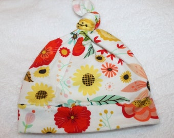 SALE Colorful Flowers Knit Knotted Newborn Hat