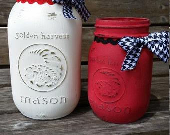 Houndstooth mason jar set