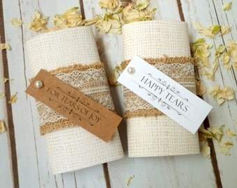 5 packs of lace and hessian personalised wedding tissues.