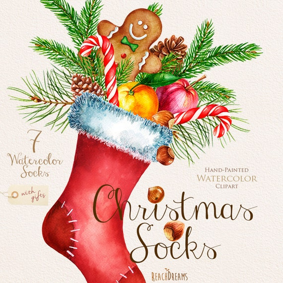 Watercolor Christmas Socks with Gifts Santa clipart by ReachDreams
