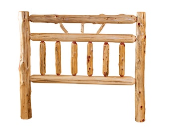 Rustic Red Cedar Log Bed- KING Size - Wagon Wheel Style -*HEADBOARD ONLY* Amish Made - Model# WWR02-030HBRC-K - Free Shipping!