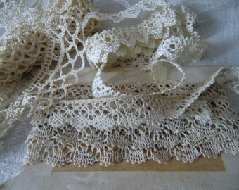 Old vintage satin lace crochet lace cream cream shabby chic