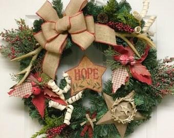 Antler wreaths etsy for Antler christmas wreath
