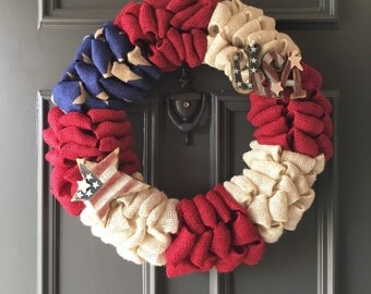 Fourth of July Wreath, Americana Wreath, July 4th Wreath