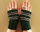 Slytherin House Fandom inspired Fingerless Gloves