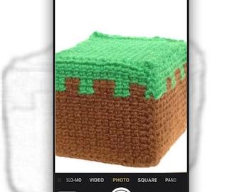 Minecraft Crochet Pattern- Minecraft Grass Block