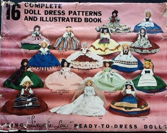 """Vintage 1952 16 Lingerie Lou dress patterns. Includes a colorful book with pictures of the dresses you can make!  Fits 7 1/4"""" dolls."""