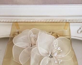 Bridal White Shoe Clips-Hair- Wedding-Barrettes-Chiffon