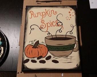 Coffee Art No. 1 - Pumpkin Spice | Kitchen Art | Coffee Shop Art | Fall Art