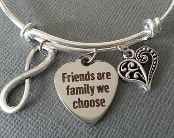 Friends are the Family We Choose Bangle Bracelet / Best Friend / Bridesmaid Gift / BFF Bracelet / Infinity / Maid of Honor / Wedding