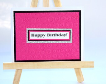 Hot Pink Birthday Card, Handmade Birthday Card for Her, Sparkly, Diva Card, Best Friend Card, Teenage Girl, Daughter, Mom's Birthday