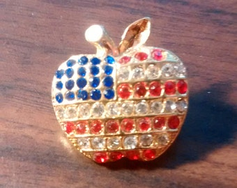 Patriotic Apple Pin