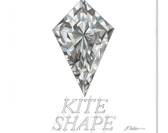 Kite Shape Diamond Watercolor Rendering printed on Canvas