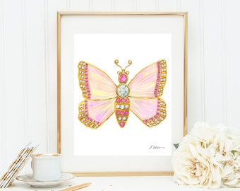 Butterfly Brooch Watercolor Rendering in Yellow Gold with Opals, Pink Sapphires, and Diamonds printed on Paper