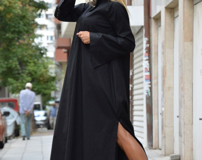 Oversize Black Extravagant Dress, Long Sleeves Maxi Kaftan, Loose Party Dress, Daywear Dress by SSDfashion