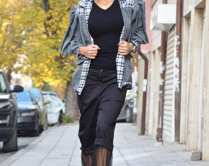 Extravagant Shepherd's Plaid Wool Jacket, Woman's Casual Blazer, Maxi Warm Jacket By SSDfashion