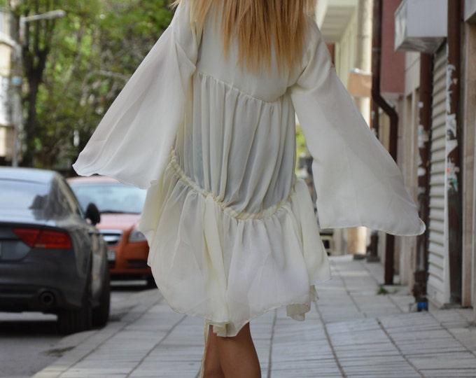 White Extravagant Shirt, Loose Asymmetric Chiffon Shirt, Party Long Dress, Oversize Sexy Top, One Size Tunic by SSDfashion