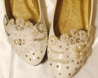 Wedding shoes flats,Ivory White Wedding shoes,Bridal Ballet Shoes,Comfortable Flats,Low Heels Flats,Womens Wedding Shoes