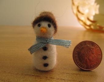 tiny handmade needlefelt snowman, miniature.