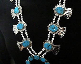 DAILY SPECIAL!!!!Navajo Silver and Genuine Turquoise Squash Blossom Necklace
