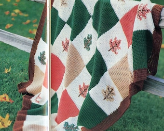 PDF Crochet Pattern,  Fall Afghan blanket.  Fall leaves,  Fall colors.  Instant download