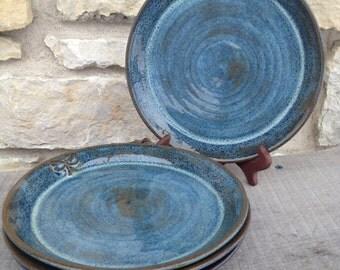 Dragonfly Dinner plates, stoneware, wheel thrown pottery 4pc set